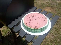 Strawberry and chocolate chip-flavored, watermelon cake