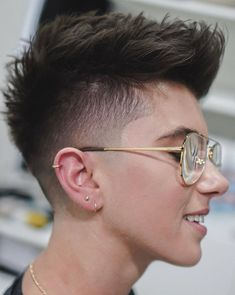 25 Fresh Androgynous Haircuts For Modern Statement-Makers - Dark Taper Fade Androgynous Haircut - Tomboy Haircut, Androgynous Haircut, Tomboy Hairstyles, Undercut Hairstyles, Trending Hairstyles, Short Hair Undercut, Short Pixie Haircuts, Short Hair Cuts, Short Hair Styles