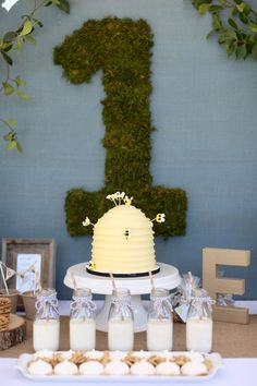 Baby bear birthday party - digging the grass-covered Teddy Bear Birthday, Baby Boy First Birthday, Boy Birthday Parties, Birthday Ideas, Birthday Cakes, Birthday Board, 9th Birthday, Bear Party, Bee Hives
