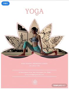 Kostenlose Yoga-Klasse Flyer Vorlage - Nature and Nourish Retreat - Yoga Free Psd Flyer Templates, Flyer Free, Mock Up, Yoga Flyer, Fitness Flyer, Fitness Posters, Design Brochure, Brochure Ideas, Booklet Design