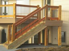 Stairs : The Right Steps on Building Deck Stair Railing Vinyl Stair Railing' Deck Steps' Exterior Stairs along with How To Build A Deck Railing' Vinyl Handrail' Porch Stair Railing and Stairs - Home Improvement and Remodeling Ideas Wood Railings For Stairs, Deck Stair Railing, Deck Railing Design, Deck Design, Railing Ideas, Porch Railings, Stair Design, Design Design, Landscape Design