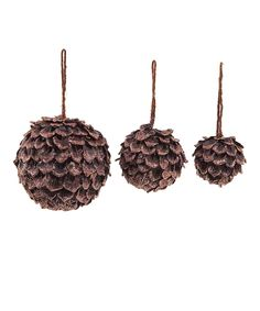 Brown Round Pinecone Ornament