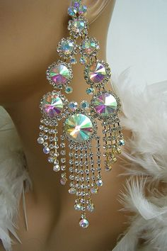 DRAG QUEEN TOPAZ CHANDELIER CRYSTAL CLIP ON EARRINGS PAGEANT ...