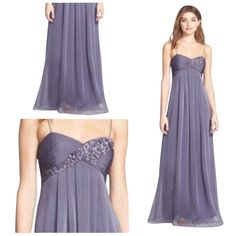 Pre-owned Adrianna Papell Bluish Gray Empire Waist Embellished... ($120) ❤ liked on Polyvore featuring dresses, gowns, bluish gray, sweetheart prom dresses, adrianna papell dresses, formal ball gowns, floral prom dresses and formal gowns