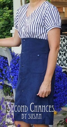Nautical Inspired Dress Refashion - Great idea for using two old shirts