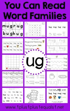 Word Family Printables ~ UG word family in action, lots of ideas and photos!
