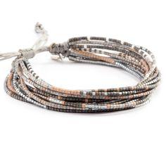 Grey Mix Multi Strand Bracelet on Silver Cord - Chan Luu