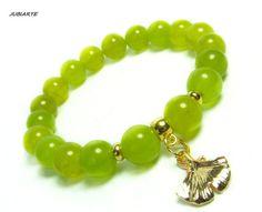 JUICY GREEN JADE & Ginkgo Gemstone bracelet Stretch by JUBIARTE