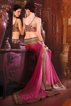 Sizzling pink chiffon saree with resham work