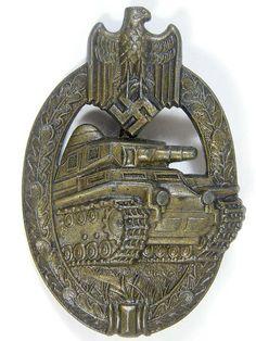 Panzer Assault badge in bronze. Reverse is marked Adolf Scholze.