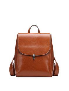 #AdoreWe #StyleWe MINGY Solid Cowhide Leather Push Lock Simple Medium Backpack - AdoreWe.com