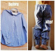 upcycling men shirt into a kids pants