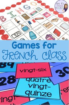 French grammar, vocabulary, and conjugation games for beginning and intermediate students of FSL and Core French classes from Mme R's French Resources French Verbs, French Grammar, High School French, French Kids, French Games For Kids, French Flashcards, Learn To Speak French, Core French, Ways Of Learning