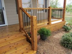 Looking to remodel your deck or build a new porch? The team at Pinnacle Homes is devoted to serving you. Call today to reserve a consultation! Front Porch Deck, Front Porch Remodel, Front Porch Addition, Front Porch Railings, Front Porch Makeover, Porch Wood, Front Porch Design, Wood Columns Porch, Porch Railing Designs