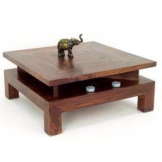 Table Basse Carrée Zen Palissandre - meuble en bois exotique