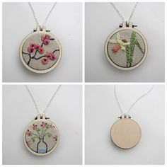 Looking for embroidery project inspiration? Check out Super cute Embroidery hoop necklaces by member www.ditsy-tulip.