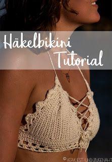 free crochet bikini top tutorial with diagrams / Häkelbikini Tutorial