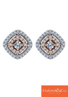 A Gabriel & Co. 14k white and rose gold diamond stud earring. Wear these gorgeous earrings on your wedding day to add the perfect touch of elegance to your wedding style.