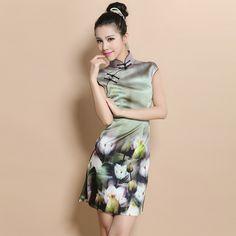 Custom Made Lily Flowers Silk Cheongsam Qipao Dress - Qipao - Cheongsam - Women