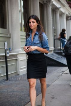A classic combination for a perfect first date - denim shirt and black pencil skirt. Simple perfection!