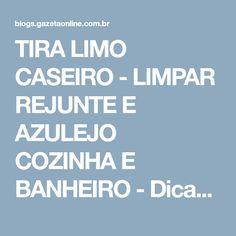 TIRA LIMO CASEIRO - LIMPAR REJUNTE E AZULEJO COZINHA E BANHEIRO - Dicas da Lucy