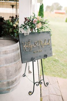 Classic wedding welcome sign idea - wedding sign with flowers - See more from this wedding on WeddingWire!