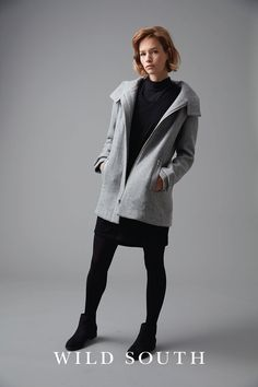 NZD $329.90 - This stunning hooded coat is made from a heavyweight wool blend, in a stylish herringbone design. Featuring branded details and polished silver trims this coat is fully lined for a luxurious look and feel. Cut in a relaxed fit, with set-in sleeves and a hood for added practicality this versatile coat is one you'll be reaching for season after season. #fashion #coat #jacket #newzealand #wool #lovewildsouth