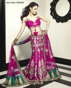 Magnificient Pink Lehenga Choli  Item Code: IV68590    Color: Pink  Fabric: Net  Work: Bead, Lace, Resham, Sequins, Stones