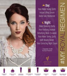 The Royalty skin care line has everything you need to give your skin the royal treatment.  Here's how Younique Presenter Quintin Croft pampers her skinwhat's your Royal Regimen? Post a picture or video on Facebook or Instagram with hashtag #MyRoyalRegimen and tell us what Royalty products you use. We'll repost some of our favorites here!
