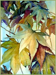 Leaves watercolor by Mary Gibbs ☆ Watercolor Leaves, Watercolour Painting, Floral Watercolor, Painting & Drawing, Watercolors, Watercolor Artists, Watercolor Portraits, Watercolor Landscape, Art Floral