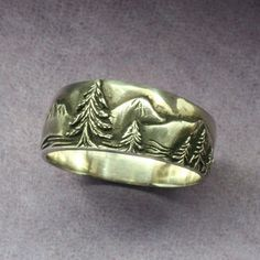 A Mountaineer's WEDDING BAND in Sterling Silver by BandScapes, $145.00