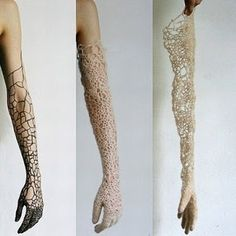 Sonya Baumel, gloves ('Invisible Membrane') referencing bacteria that covers the skin.