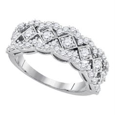 14kt White Gold Women's Round Diamond Diagonal Square Band Ring 1.00 Cttw - FREE Shipping (US/CAN)