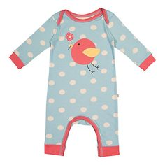 Frugi Baby Spotted Bird Applique Romper Suit, John Lewis