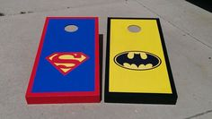 superhero Cornhole Boards and Bags - i think we have a winner...