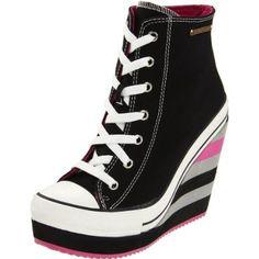 Rock & Candy Women`s LuLu Wedge Fashion Sneaker,Black Canvas,10 M US $71.99