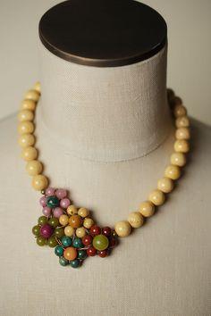 Unique Chunky Gemstone Flower Bouquet Necklace for Women | Anne Vaughan Handmade Designer Jewelry