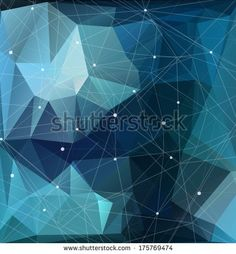 Blue geometric pattern, triangles background, polygonal design. Starry sky, constellations. Vector EPS 10 illustration. - stock vector