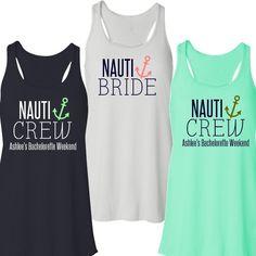 Nauti Bride or Nauti Crew Flowy Racerback Tank | Bachelorette Party Tank #bacheloretteparty #nauticrew #nautitank #beforetheidos http://www.beforetheidos.com/Nauti-Bride-or-Nauti-Crew-Flowy-Tank-p/jap-b8800nautibcr.htm