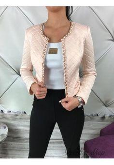Krátke elegantné sako Chanel - pudrovo ružové