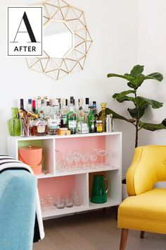 """Before & After: An IKEA Shelf Unit Becomes a Mod Bar """"Cart""""   Apartment Therapy"""