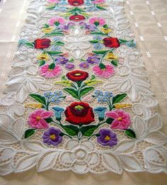 Kalocsa lace (Richelieu) table runner with authentic Hungarian pattern. High quality hand-embroidered lacework.