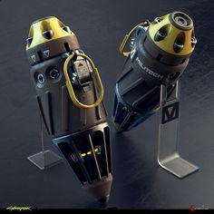ArtStation - Grenades Original Concepts - Cyberpunk 2077, Filippo Ubertino Sci Fi Weapons, Weapon Concept Art, Fantasy Weapons, Homemade Fireworks, Rpg Cyberpunk, Tactical Armor, Hero Poster, Future Weapons, Futuristic Art