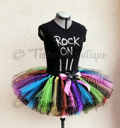 Rock and Roll t-shirt, multicolor tutu skirt