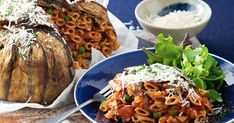 Feed big families with big appetites with this hearty eggplant pasta pie.