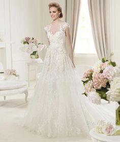 エレガントなAラインアップリケジュエルブラシトレインウェディングドレス 10906279 - ウェディングドレス2014 - Dresswe.Com