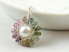 Tourmaline Flower Necklace by SDJewelry on Etsy