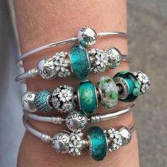 Fun Friday stack of summery Pandora bracelets. Pandora Style Charms, Pandora Beads, Pandora Bracelet Charms, Pandora Jewelry, Jewelry Box, Silver Bracelets, Wrap Bracelets, Silver Ring, Piercings