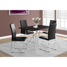"Monarch Cappuccino Dining Table with Chrome Base (Dining Table - 32""X 48"" / Cappuccino / Chrome), Brown"