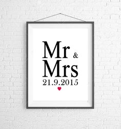 Mr & Mrs Wedding Date Print Wall art Wedding by ThePhotoGiftCo Engagement Presents, Mr And Mrs Wedding, Mr Mrs, Wall Art Prints, Love Quotes, Unique Jewelry, Handmade Gifts, Etsy, Qoutes Of Love
